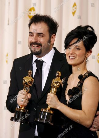 David Marti and Montse Rib? Hold Up Their Oscars For Achievement in Makeup For 'Pan's Labyrinth' at the 79th Annual Academy Awards at the Kodak Theatre in Hollywood California Sunday 25 February 2007