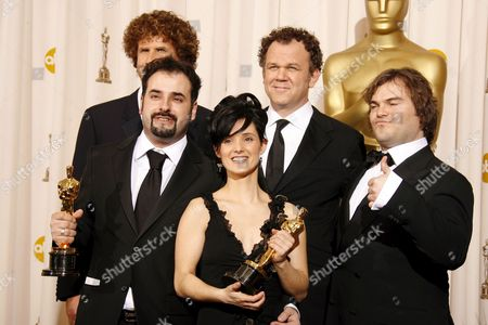 Stock Picture of David Marti and Montse Rib? Hold Up Their Oscars For Achievement in Makeup For 'Pan's Labyrinth' with Actors Will Ferrell (l-to-r) John C Reilly and Jack Black at the 79th Annual Academy Awards at the Kodak Theatre in Hollywood California Sunday 25 February 2007