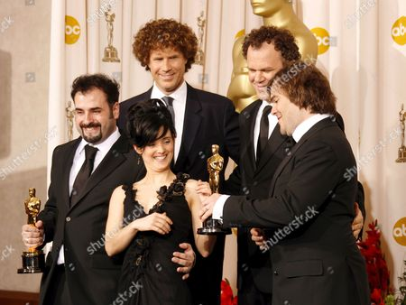 David Marti and Montse Rib? Hold Up Their Oscars For Achievement in Makeup For 'Pan's Labyrinth' with Actors Will Ferrell (l-to-r) John C Reilly and Jack Black at the 79th Annual Academy Awards at the Kodak Theatre in Hollywood California Sunday 25 February 2007