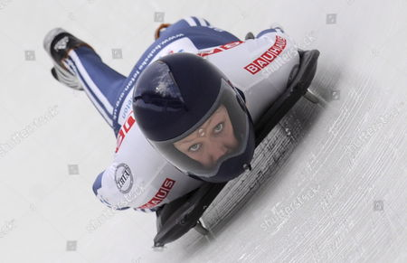 Donna Creighton of Great Britain Takes a Curve During the Women's Skeleton Second Run at the Fibt Bobsleigh & Skeleton World Championships in Lake Placid New York Usa 026 February 2009 Lake Placid is the Site of Both the Fil and Fibt World Championships in 2009
