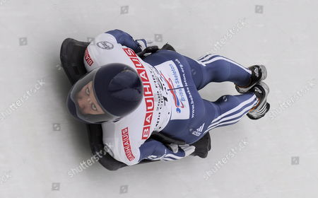 Stock Picture of Donna Creighton of Great Britain Takes a Curve During the Women's Skeleton First Run at the Fibt Bobsleigh & Skeleton World Championships in Lake Placid New York Usa 26 February 2009 Lake Placid is the Site of Both the Fil and Fibt World Championships in 2009
