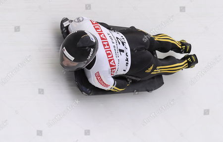 Michi Halilovic of Germany Takes a Curve During the Men's Skeleton Second Run at the Fibt Bobsleigh & Skeleton World Championships in Lake Placid New York Usa 27 February 2009 the Second Heat Was Cancelled After 20 Sleds Had Run Due to Poor Track Conditions Caused by Warm Weather and Rain