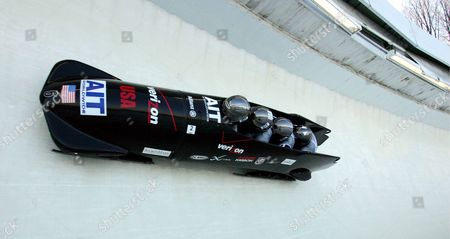 Usa-1 with Pilot Todd Hays Pavle Jovanovic Steve Mesler and Garrett Hines Onboard Take a Curve During the First Heat of the 2005/06 Fibt Ait Men's 4-man Bobsleigh World Cup in Lake Placid New York Sunday 20 November 2005 Russia-1 Held the Lead After the First Heat with a Time of 55 02