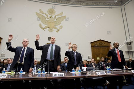(l-r) Former Freddie Mac Ceo Richard Syron Former Fannie Mae Ceo Daniel Mudd Former Freddie Mac Ceo Leland Brendsel and Former Fannie Mae Ceo Franklin Raines Are Sworn in Before the House Committee On Oversight and Government Reform's Hearing Titled 'The Role of Fannie Mae and Freddie Mac in the Financial Crisis' On Capitol Hill in Washington D C Usa 09 December 2008 the Hearing Will Examine the Extent to Which the Actions and Policies of Fannie Mae and Freddie Mac May Have Contributed to the Ongoing Crisis