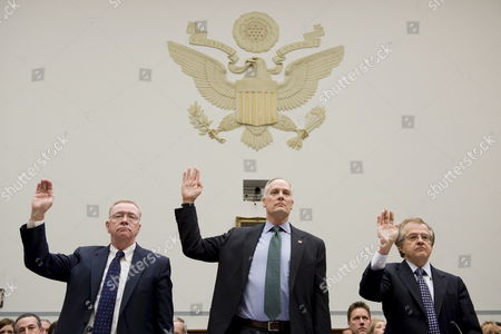 (l-r) Former Freddie Mac Ceo Richard Syron Former Fannie Mae Ceo Daniel Mudd and Former Freddie Mac Ceo Leland Brendsel Are Sworn in Before the House Committee On Oversight and Government Reform's Hearing Titled 'The Role of Fannie Mae and Freddie Mac in the Financial Crisis' On Capitol Hill in Washington D C Usa 09 December 2008 the Hearing Will Examine the Extent to Which the Actions and Policies of Fannie Mae and Freddie Mac May Have Contributed to the Ongoing Crisis