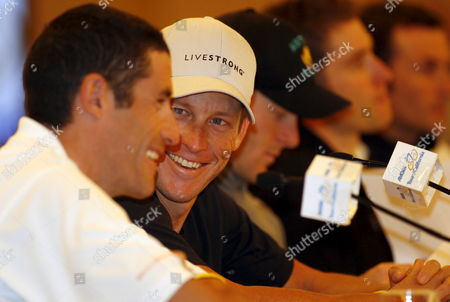 Cyclists (left to Right) George Hincapie of Usa Lance Armstrong of Usa Levi Leipheimer of Usa Christian Vande Velde of Usa and Italian Ivan Basso During a Press Conference in Sacramento On the Amgen Tour of California California 12 February 2009 the Tour Begins On Saturday February 14 with the Prologue Around the State Capitol Building