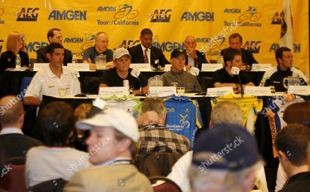 Cyclists (first Row Left to Right) George Hincapie of Usa Lance Armstrong of Usa Levi Leipheimer of Usa Christian Vande Velde of Usa and Italian Ivan Basso During a Press Conference in Sacramento On the Amgen Tour of California California 12 February 2009 the Tour Begins On Saturday February 14 with the Prologue Around the State Capitol Building