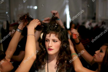 A Model's Hair is Prepared For the Kelly Nishimoto Show Backstage at the Los Angeles Mercedes-benz Fashion Week in Los Angeles California Usa 09 March 2008 This Year's Fall Season Showcases Over Twenty Designers the Los Angeles Fashion Week Fall 2008 is Scheduled For 09 to 13 March 2008