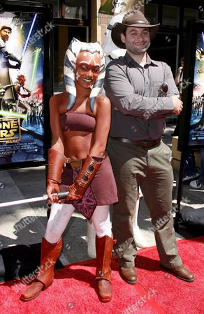 Us Director Dave Filoni (r) with Film Character Ahsoka Tano (l) Upon Their Arrival For the Premiere of 'Star Wars: the Clone Wars' in Los Angeles California Usa 10 August 2008 'Star Wars: the Clone Wars' is the First Ever Animated Feature From Lucasfilm Aniimation