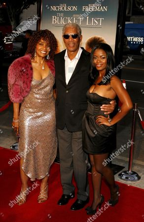 Us Actors Beverly Todd (l) Morgan Freeman (c) and Serena Reeder (r) Arrive For the Film Premiere of 'The Bucket List' in Los Angeles California Usa 16 December 2007 'The Bucket List' is the Story of Two Terminally Ill Men (jack Nicholson and Morgan Freeman) Who Escape From a Cancer Ward and Embark On a Road Trip to Do All of the Things They Ever Wanted to Do Before They Die