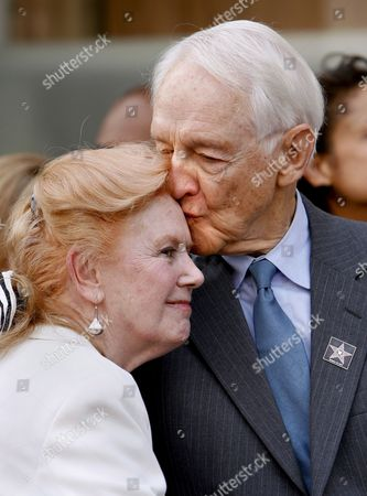 Screen Actors Guild Past Presidents Kathleen Nolan (l) and William Schallert (r) Share a Moment During the Guild's Award of Excellence Star On Hollywood Boulevard Ceremonies in Hollywood California Usa 25 October 2007 Sag is the First Labor Union to Receive the Honor Which Recognized the Guild's Contributions to Actors and the Entire Entertainment Industry