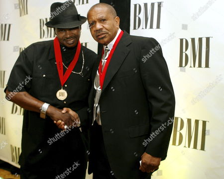 Stock Picture of Songwriters Michael Bennett (l) and Lenny Williams (r) Pose For Photographers After the 54th Annual Broadcasting Media Inc (bmi) Pop Awards in Beverly Hills California Tuesday 16 May 2006