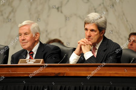 Republican Senator of Indiana Richard G Lugar (l) and John Kerry (r) Chairman of the Senate Foreign Relations Committee Attend a Confirmation Hearing On the Nomination of Dr Susan E Rice to Be U S Ambassador to the United Nations in the President-elect Barack Obama Administration On Capitol Hill in Washington Dc Usa On 15 January 2009