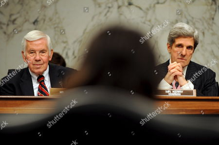 Republican Senator of Indiana Richard G Lugar (l) and John Kerry (r) Chairman of the Senate Foreign Relations Committee Face Dr Susan E Rice (c) During a Confirmation Hearing On the Nomination of Rice to Be U S Ambassador to the United Nations in the President-elect Barack Obama Administration On Capitol Hill in Washington Dc Usa On 15 January 2009