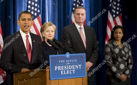 Stock Image of Us President-elect Barack Obama (l) Introduces New York Senator Hillary Clinton (2-l) As His Choice For Secretary of State Retired Marine General James L Jones (2-r) As National Security Adviser and Campaign Foreign Policy Advisor Susan Rice (r) As United Nations Ambassador in Chicago Illinois Usa 01 December 2008 Obama Also Introduced Washington Dc Lawyer Eric Holder As Attorney General Arizona Governor Janet Napoplitano As Homeland Security Secretary and Defense Secreatary Robert Gates to Remain in His Position