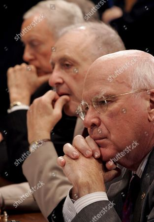 (r to L) Senator Patrick Leahy (democrat / Vermont) U S Senator Arlen Specter (republican / Pennsylvania) Chairman of the Senate Judiciary Committee and Senator Orin Hatch (republican / Utah) Listen During a Committee Mark Up Hearing On the Nomination of Judge John Roberts to Be Chief Justice of the United States On Capitol Hill in Washington Dc Thursday 21 September 2005 Leahy the Committees Ranking Democrat Announced Yesterday That Will Vote Yes the Committee Will Vote Later Today and the Full Senate is Expected to Vote Next Week