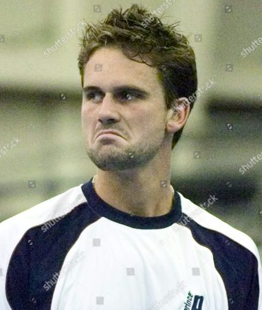 Stock Picture of Jan-michael Gambill of the Usa Looks at His Opponent Kenneth Carlsen of Denmark After Being Aced On a Serve in the Regions Morgan Keegan Championships Tennis Tournament in Memphis Tennessee On Friday 18 February 2005 Carlsen Defeated Gambill 7-6 7-5