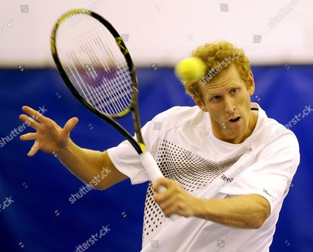 Chris Guccione of Australia Hits a Return to Vincent Spadea of the United States in the First Round of the Regions Morgan Keegan Championships Tennis Tournament in Memphis Tennessee Usa 16 February 2009 Guccione Defeated Spadea 7-6 (1) 7-6 (5)