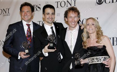 (l-r) Producers Kevin Mccollum Actor Lin-manuel Miranda Jeffrey Seller and Jill Furman Hold the Tony Awards For Best Musical 'In the Heights' in the Press Room at the 62nd Annual Tony Awards in New York New York Usa On 15 June 2008