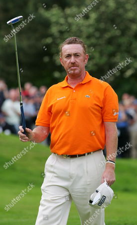 Spain's Miguel Angle Jimenez Acknowledges the Crowd at the 18th Green As He Finishes Third in the Fourth Round of the Bmw Championship at the Wentworth Club Southern England Sunday 28 May 2006 Miguel Finished 11 Shots Under Par