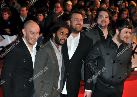 (l-r) Richard Jupp Pete Turner Guy Garvey Mark Potter and Craig Potter of the British Band Elbow Arrive at the 2009 Brit Awards Held at East London's Earls Court Exhibition Centre Britain 18 February 2009 the Brit Awards Are the Largest Uk Music Industry Awards Honouring British and International Talent