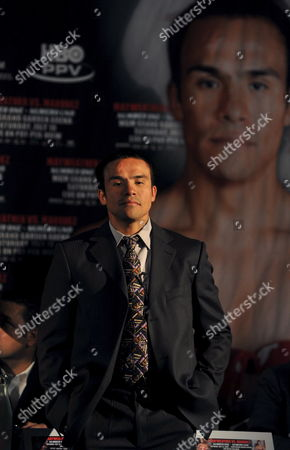Mexican Boxer Juan Manuel Marquez Waits to Meet His Opponent Us Fighter Floyd Mayweather During a Press Conference Held at the Landmark Hotel in Central London England On 21 May 2009 Mayweather and Marquez Will Meet in the Ring in Las Vegas On July 18 2009