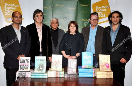Shortlisted Authors For the Man Booker Prize For Fiction (l-r) Indian Writer Aravind Adiga Irish Writer Sebastian Barry Indian Writer Amitav Ghosh English Writer Linda Grant English Writer Philip Hensher and Australian Author Steve Toltz Poze For Photographers at Hatchard's Bookshop in Central London Britain 14 October 2008 the Man Booker Prize For Fiction is the English Speaking World's Most Coveted Literary Award the Winner Will Be Announced Later 14 October