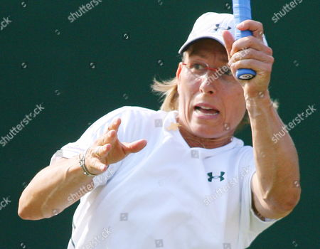 Stock Photo of Martina Navratilova During Her Women's Doubles Match with Liezel Huber Against Anastasia Myskina and Elena Likhovtseva For the Wimbledon Championships at the All England Lawn Tennis Club Tuesday 04 July 2006