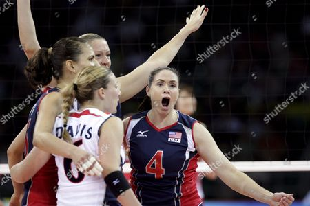United States Lindsey Berg (r) Celebrates with Her Teammates After Winning a Point Against the Japanese Team in Their Preliminary Pool of Women's Volleyball at the Beijing 2008 Olympic Games in Beijing August 9 2008 Usa Won 3-1