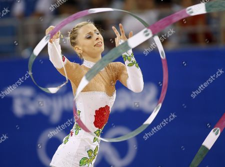 Austria's Caroline Weber Performs with the Ribbon During the Individual All-around Qualifications For Rhythmic Gymnastics During the Olympic Games in Beijing China 22 August 2008