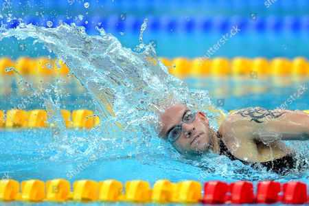 Andrew Lindsay of Great Britain in Freestyle Action During the Men's 400m Freestyle - S7 Category at the National Aquatics Center Known As the Water Cube During the Beijing 2008 Paralympic Games China 11 September 2008