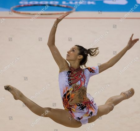 Spain's Almudena Cid Performs During the 2007 Rhythmic Gymnastics International Invitational Tournament in Beijing China 05 December 2007 the Tournament is Part of the 'Good Luck Beijing' Series of Events Being Held to Test Olympic Venues Ahead of the Beijing 2008 Olympic Games