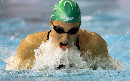 Mirna Jukic of Austria Swims in the Qualifications the 50 M Breaststroke at the European Short Course Championships in Rijeka Town Croatia On 11 December 2008