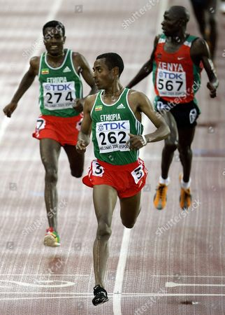 Ethopian Kennenisa Bekele Wins the Men's 10 000m Final at the 10th Iaaf World Championships in Athletics Helsinki Finland Monday 08 August 2005 Ethopian Kennenisa Bekele Won Ahead of Compatriot Sileshi Sihine (l) and Moses Mosop (r) of Kenya Finland Helsinki