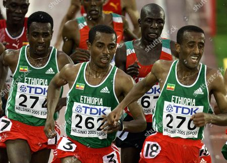 From Left: Ethopian Sileshi Sihine Compatriot Kenenisa Bekele Moses Mosop of Kenya and Abebe Dinkesa Negera of Ethopia Compete in the Men's 10 000m Final at the 10th Iaaf World Championships in Athletics Helsinki Finland Monday 08 August 2005 Ethopian Kenenisa Bekele Won Ahead of Compatriot Sileshi Sihine and Moses Mosop of Kenya Finland Helsinki