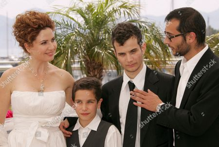 French Director Raphael Nadjari (r) Poses with Israeli Cast Members Michael Moshonov (2nd R) Yonathan Alster (2nd L) and Limor Goldstein (l) During a Photocall For His Film 'Tehilim' Running in Competition at the 60th Cannes Film Festival 20 May 2007 in Cannes France