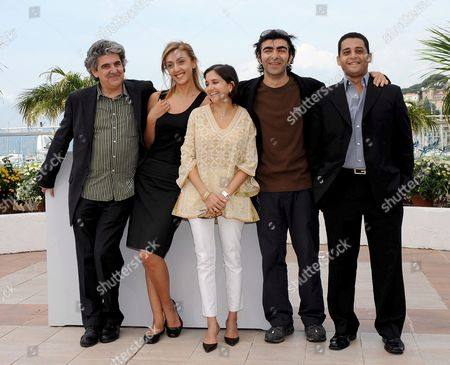Stock Picture of Members of 'Un Certain Regard' Competition Jury (l-r) Spanish Director Jose Maria Prado Russian Journalist Catherine Mtsitouridze Indian Journalist Anupama Chopra German Director of Turkish Origin and 'Un Certain Regard' Competition President Fatih Akin and Egyptian Critic Yasser Moheb Pose For Photographers During a Photocall at the 61st Edition of the Cannes Film Festival 15 May 2008 in Cannes France