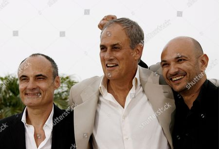 (l-r) French Philippe Val Journalist Managing Editor and Chief Editor of Charlie Hebdo (a Satirical Political Weekly Newspaper) Director Daniel Leconte and Richard Malka Lawyer of Charlie Hebdo Pose During a Photocall For Their Film 'It's Hard Being Loved by Jerks' at the 61st Edition of the Cannes Film Festival in Cannes France 16 May 2008