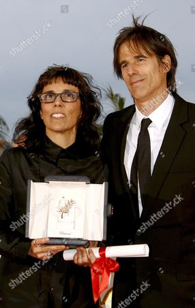 Brazilian Co-directors Walter Salles (r) and Daniela Thomas Pose For Photographers After Receiving On Behalf of Brazilian Actress Sandra Corveloni the Best Actress Award For Her Role in the Film 'Linha De Passe' at the 61st Edition of the Cannes Film Festival 25 May 2008 in Cannes France