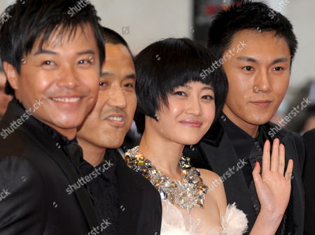 L-r Chinese Actor Chen Sicheng Director Lou Ye Actress Tan Zhuo Actor Qin Hao Arrive For the Gala Screening of the Chinese Film 'Chun Feng Zui De Ye Wan' (spring Fever) by Lou Ye Running in Competition For the 62nd Edition of the Cannes Film Festival in Cannes France 14 May 2009