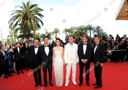 Cast and Crew Members Including French Rockstar Johnny Hallyday (2nd R) Arrive For the Gala Screening of Their Film 'Vengeance' by Johnny to Running in Competition During the 62nd Edition of the Cannes Film Festival in Cannes France 16 May 2009