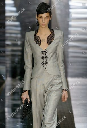 Model Emina Cunmulaj Presents a Creation of the Giorgio Armani Priv? Collection As Part of the Spring / Summer 2006 Haute Couture Collections Presented During Paris Fashion Week Monday 23 January 2006