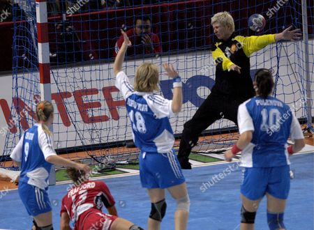 Russia's Goalie Inna Suslina Fails to Stop the Ball and Norway's Marit Frafjord Scores During Their Women's Handball World Championship Final Match in Paris France 16 December 2007