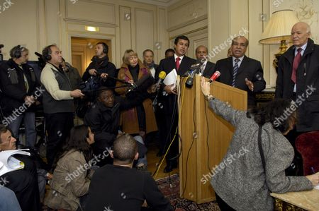 Lybian Fm Abdel Rahman Shalgham Makes a Point During His Press Conference in Paris France 14 December 2007 Mr Shalgham Who Accompanies Lybian Leader Muammar Kadhafi During His Official Five Days Visit to France Stated That There is No Torture in Lybia and Human Rights Are a Matter of Interpretation As in Europe It Means That Homosexuals Can Get Married and in Lybia It Exists Polgyamy