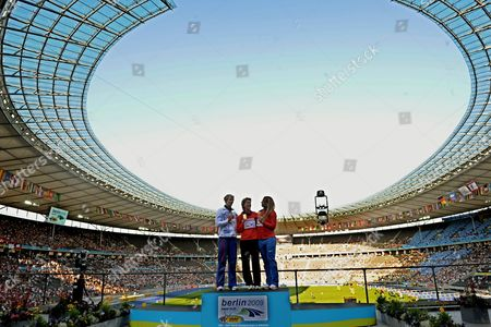 Javelin Gold Medal Winner Steffi Nerius (c) of Germany Celebrates with Bronze Medal Winner Maria Abakumova (r) of Russia and Silver Medalist Barbora Spotakova (l) of the Czech Republic During the Medal Ceremony at the 12th Iaaf World Championships in Athletics Berlin Germany 19 August 2009 Germany Berlin