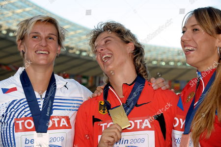 (l-r) Barbora Spotakova (czech Republic Silver) Steffi Nerius (germany Gold) and Maria Abakumova (russia Bronze) Pose During the Medal Ceremony For the Women's Javelin at the 12th Iaaf World Championships in Athletics Berlin Germany 19 August 2009 Germany Berlin