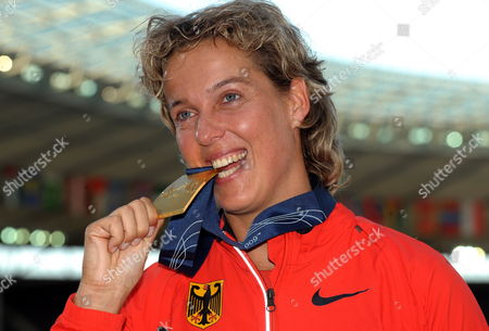 Steffi Nerius (germany Gold) Poses During the Medal Ceremony For the Women's Javelin at the 12th Iaaf World Championships in Athletics Berlin Germany 19 August 2009 Germany Berlin