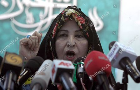 Zahra Rahnavard Wife of Iranian Presidential Hopeful Mir-hossein Mousavi Speaks During a Press Conference in Tehran Iran 7 June 2009 Rahnavard Was Accused by Iranian President Mahmoud Ahmadinejad of Exposing Herself As Phd Graduate Although She Had No Doctorate Rahnavard a Renowned Woman Activist and University Professor Said That the President Should Either Apologize Or She Would Sue Him in Court Moussavi is the Main Challenger of Ahmadinejad and Accused the President to Have in the Last Four Years Humiliated the Iranians Before the World