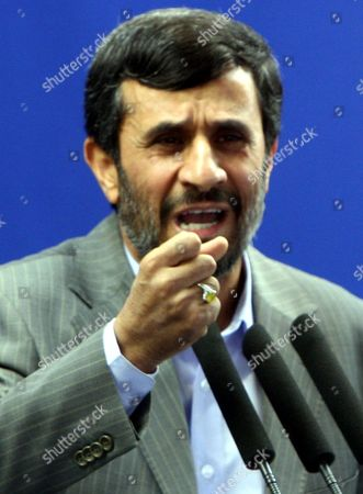 Iranian President Mahmoud Ahmadinejad Speaks at a Friday Prayer Ceremony Tehran Iran 28 August 2009 Ahmadinejad Called For Prosecuting the Country's Opposition Leaders For Leading the Protests Against Alleged Fraud in the 12 June Presidential Elections Ahmadinejad Was Referring to Defeated Presidential Candidates Former Premier Mir-hossein Moussavi and Former Parliamentary Speaker Mehdi Karroubi As Well As Former Presidents Akbar Hashemi-rafsanjani and Mohammad Khatami Who Are the Main Leaders of the Opposition Opposition Supporters Who Have not Yet Acknowledged Ahmadinejad's Re-election Have Staged Street Demonstrations Against Ahmadinejad Protesting the Alleged Vote Rigging in Favour of the Incumbent the Crowd at the Prayer Ceremony Approved Ahmadinejad's Demand Shouting 'The Leaders of the Unrests Should Be Executed'