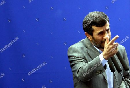 Iranian President Mahmoud Ahmadinejad Speaks at a Friday Prayer Ceremony Tehran Iran 28 August 2009 Ahmadinejad Called For Prosecuting the Countrys Opposition Leaders For Leading the Protests Against Alleged Fraud in the 12 June Presidential Elections Ahmadinejad Was Referring to Defeated Presidential Candidates Former Premier Mir-hossein Moussavi and Former Parliamentary Speaker Mehdi Karroubi As Well As Former Presidents Akbar Hashemi-rafsanjani and Mohammad Khatami Who Are the Main Leaders of the Opposition Opposition Supporters Who Have not Yet Acknowledged Ahmadinejads Re-election Have Staged Street Demonstrations Against Ahmadinejad Protesting the Alleged Vote Rigging in Favour of the Incumbent the Crowd at the Prayer Ceremony Approved Ahmadinejads Demand Shouting 'The Leaders of the Unrests Should Be Executed'